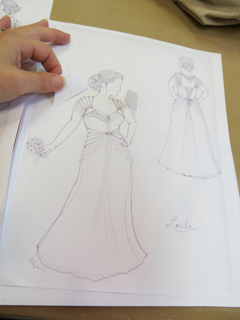 Testing new ideas onto loula s two sketches for Double sided tape for wedding dress