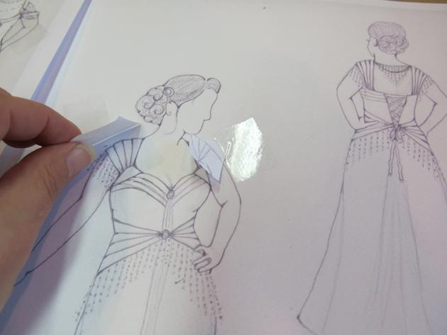 Architectural wedding dress sketch changes