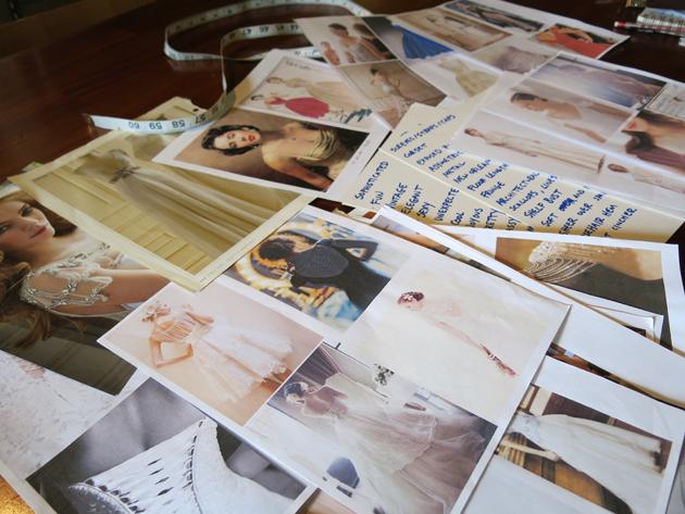Loula's custom wedding dress design consultation images