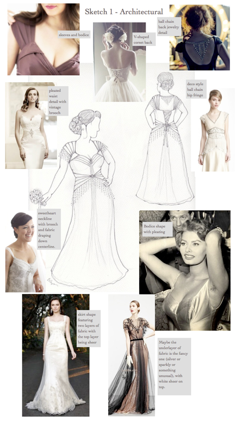 Loula's custom wedding dress Inspirations for Architectural Look #1