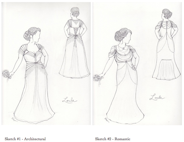 Loula's custom wedding dress sketches 1&2