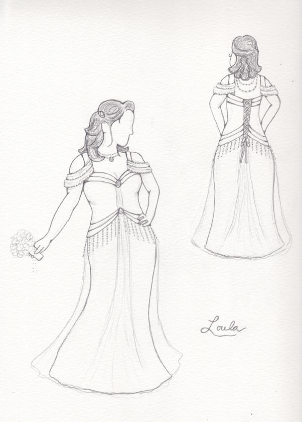 Custom wedding dress sketch by Brooks Ann Camper Bridal Couture