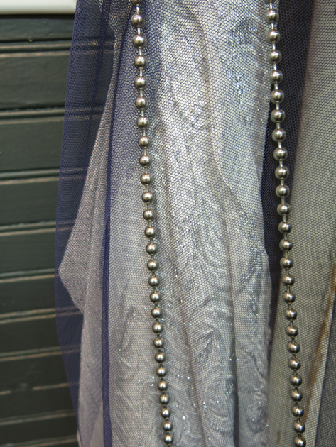 Loula's silver and blue fabrics with the ball chain