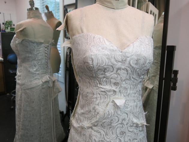 Loula's dress in process close up