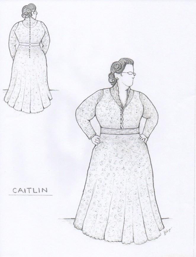Revised Sketch for Caitlin's Custom Wedding Dress ©2014 Brooks Ann Camper Bridal Couture