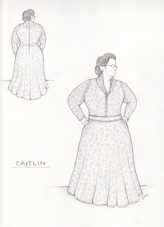 Sketch for Caitlin's Custom Wedding Dress ©2014 Brooks Ann Camper Bridal Couture