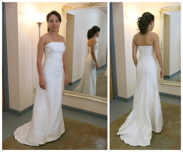 Heather's thrift store wedding dress before custom accessories by Brooks Ann Camper Bridal Couture