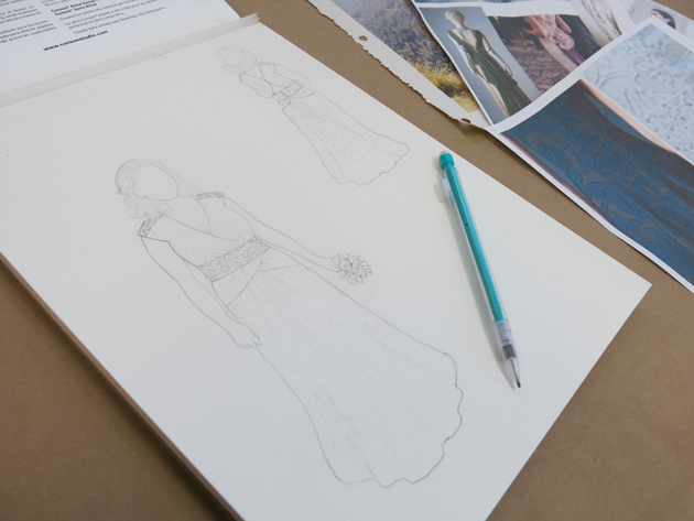 Custom sketching for Erin's unique wedding dress