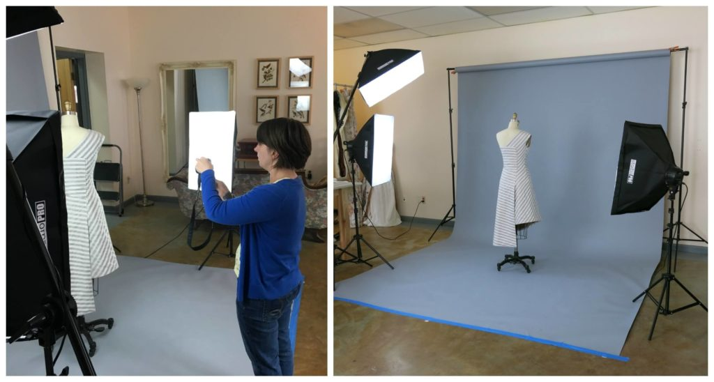Couture sewing: Brooks Ann Camper taking photos of Sally's custom wedding dress