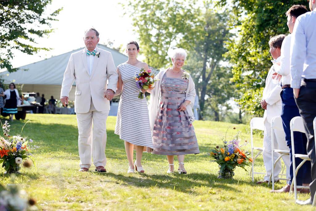 Sally's Wedding Day | custom striped wedding dress by Brooks Ann Camper Bridal Couture