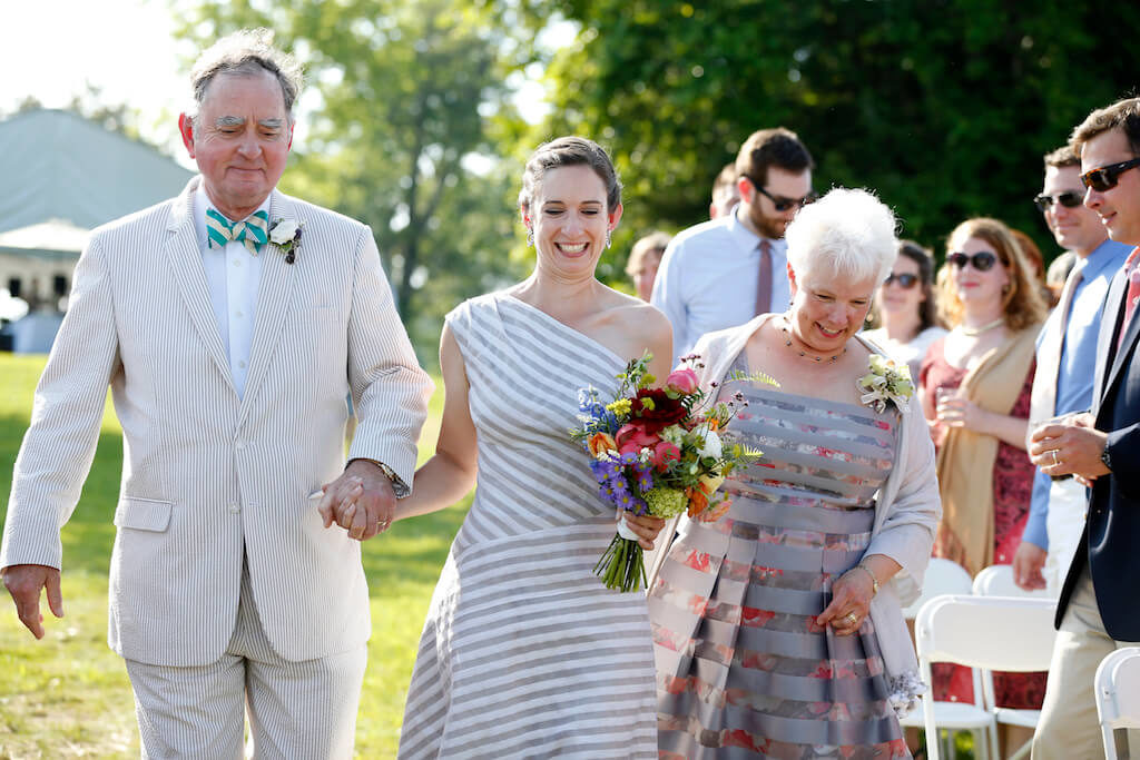 Sally's Wedding Day | custom striped wedding dress by Brooks Ann Camper Bridal Couture