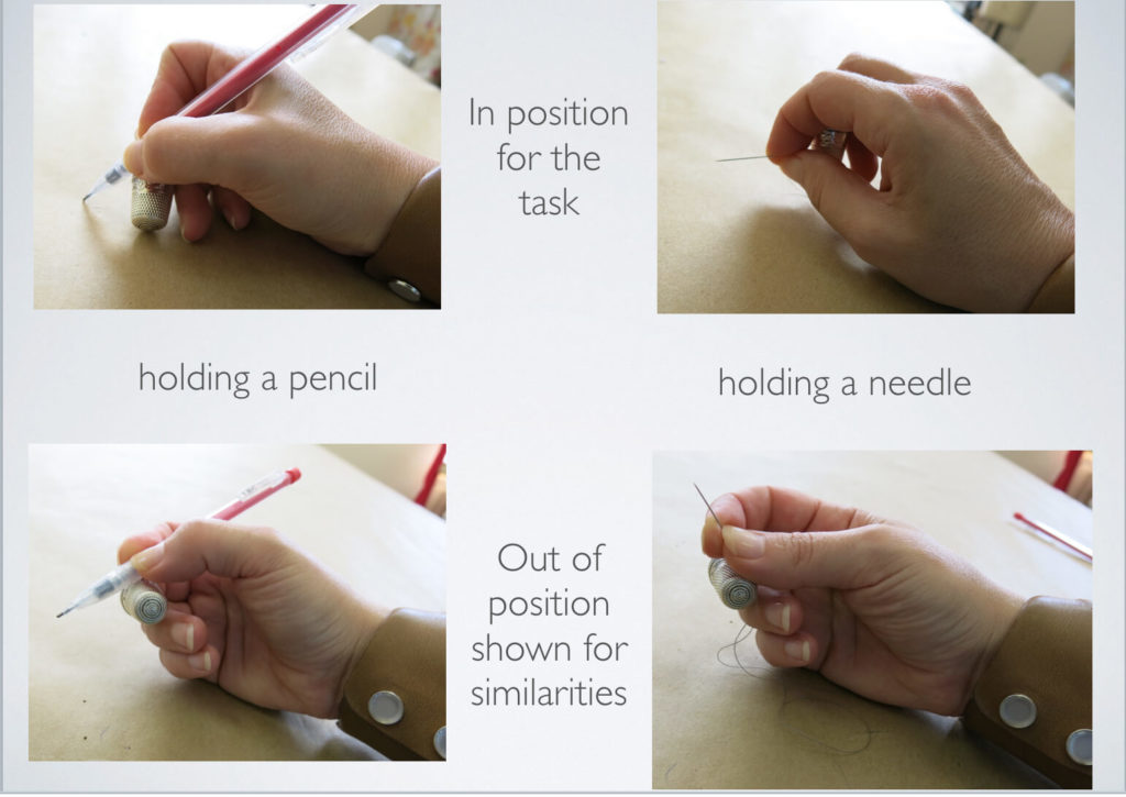 Diagram of hand positions and needle positions while using a thimble for hand sewing | Brooks Ann Camper Bridal Couture