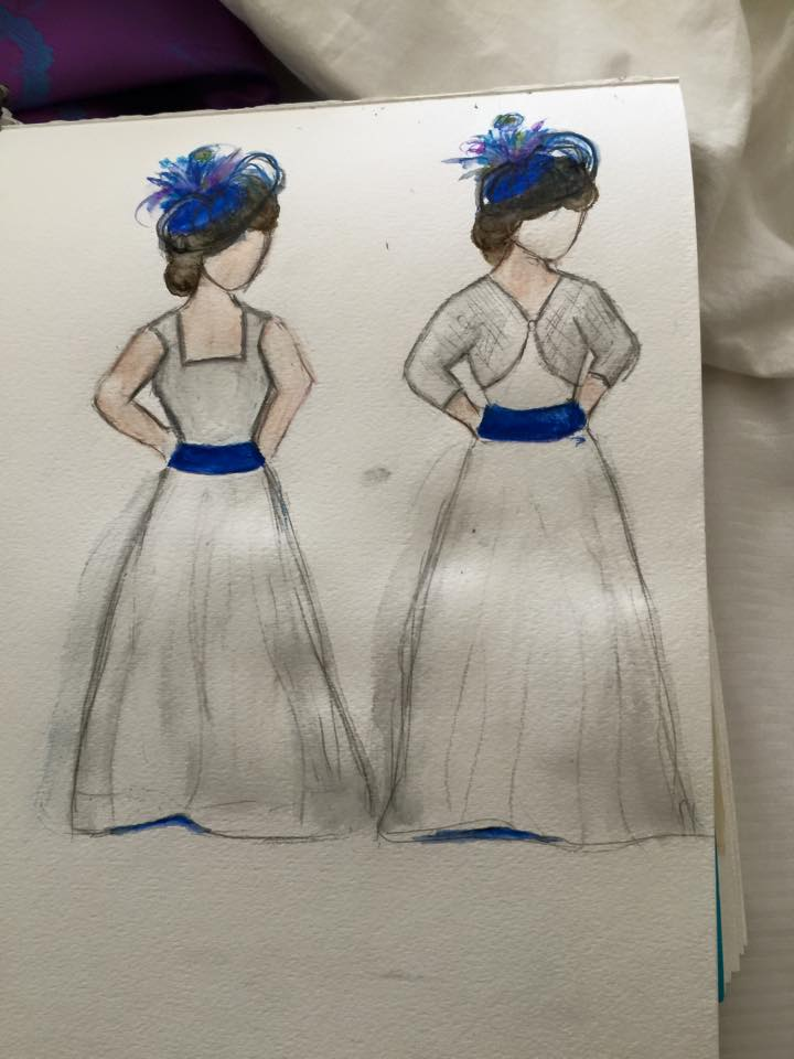 Rebecca sketch for making her own wedding dress with help from Brooks Ann Camper Bridal Couture