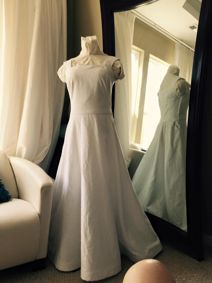 Rebecca making her own wedding dress with help from Brooks Ann Camper Bridal Couture