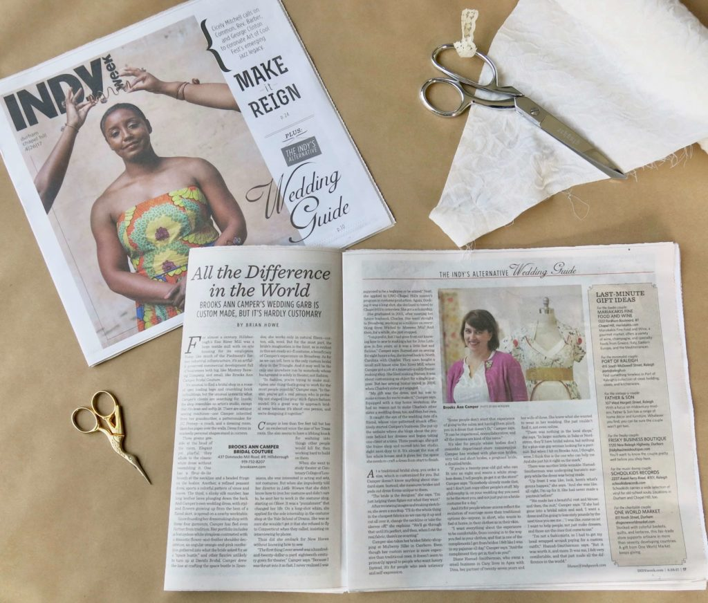 Indy article about Brooks Ann Camper Bridal Couture