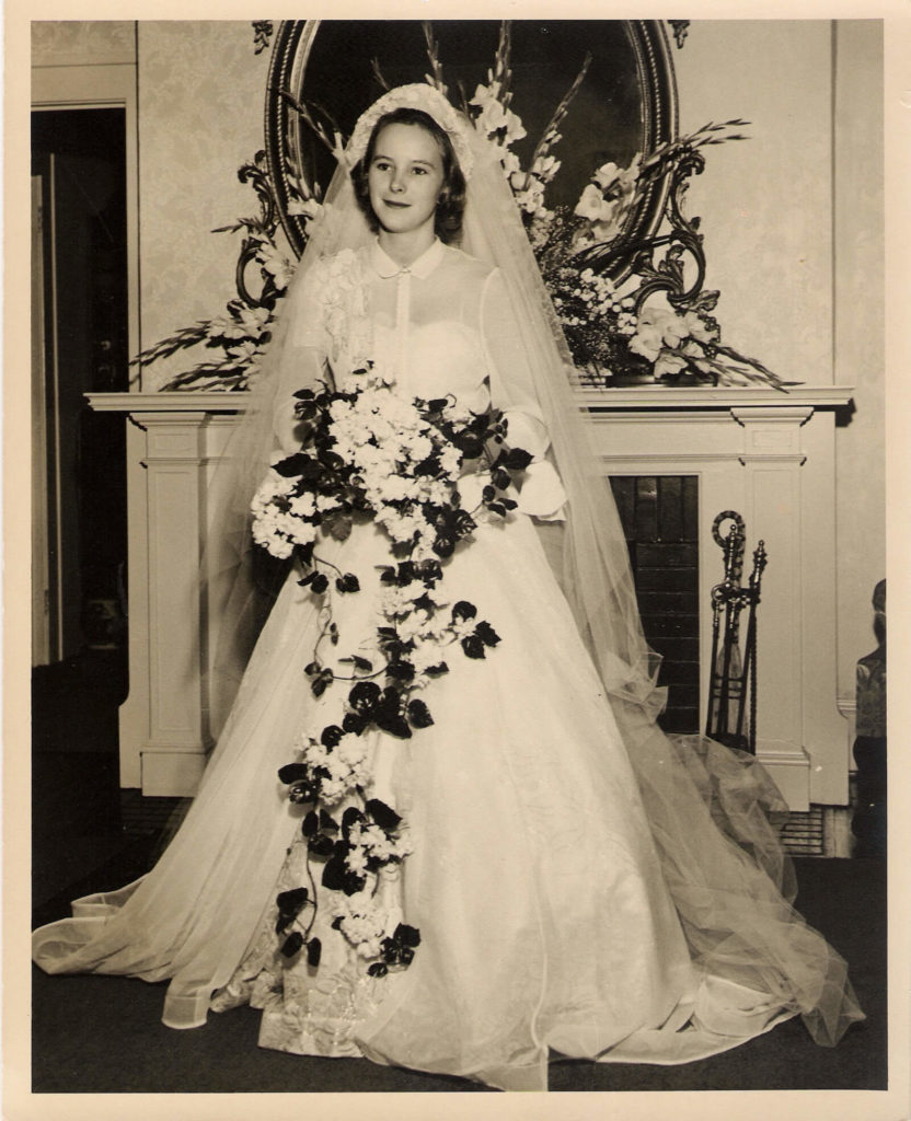 Cameron's Grandmother in 1949 Dior   Brooks Ann Camper Bridal Couture