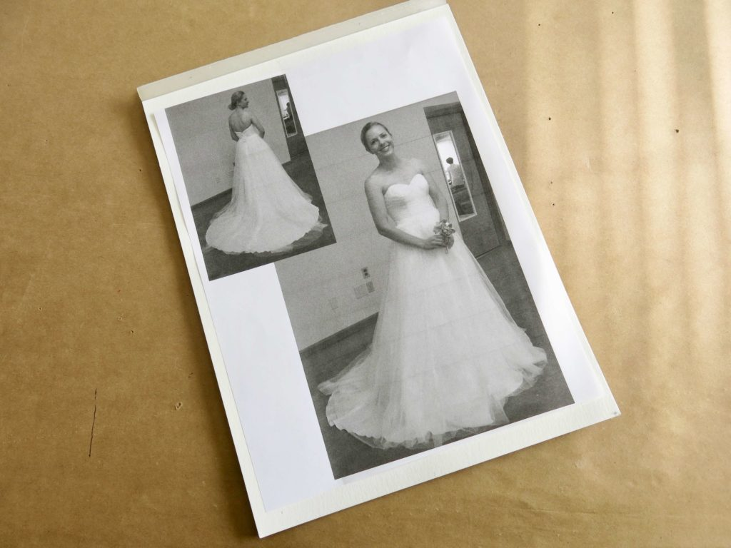 Cameron's Store-bought dress pics to use for a custom wedding dress sketch by Brooks Ann Camper Bridal Couture