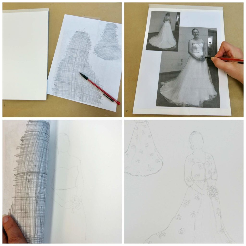 Creating Cameron's custom wedding dress sketch by Brooks Ann Camper Bridal Couture