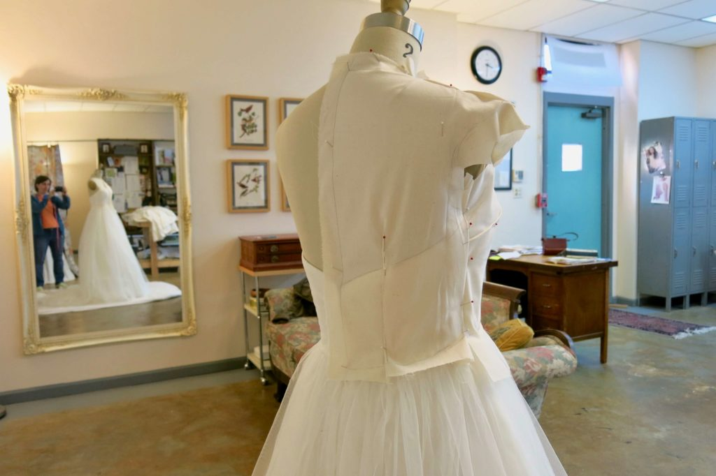 The back of the rough drape Patternmaking for Cameron's custom wedding overdress by Brooks Ann Camper Bridal Couture