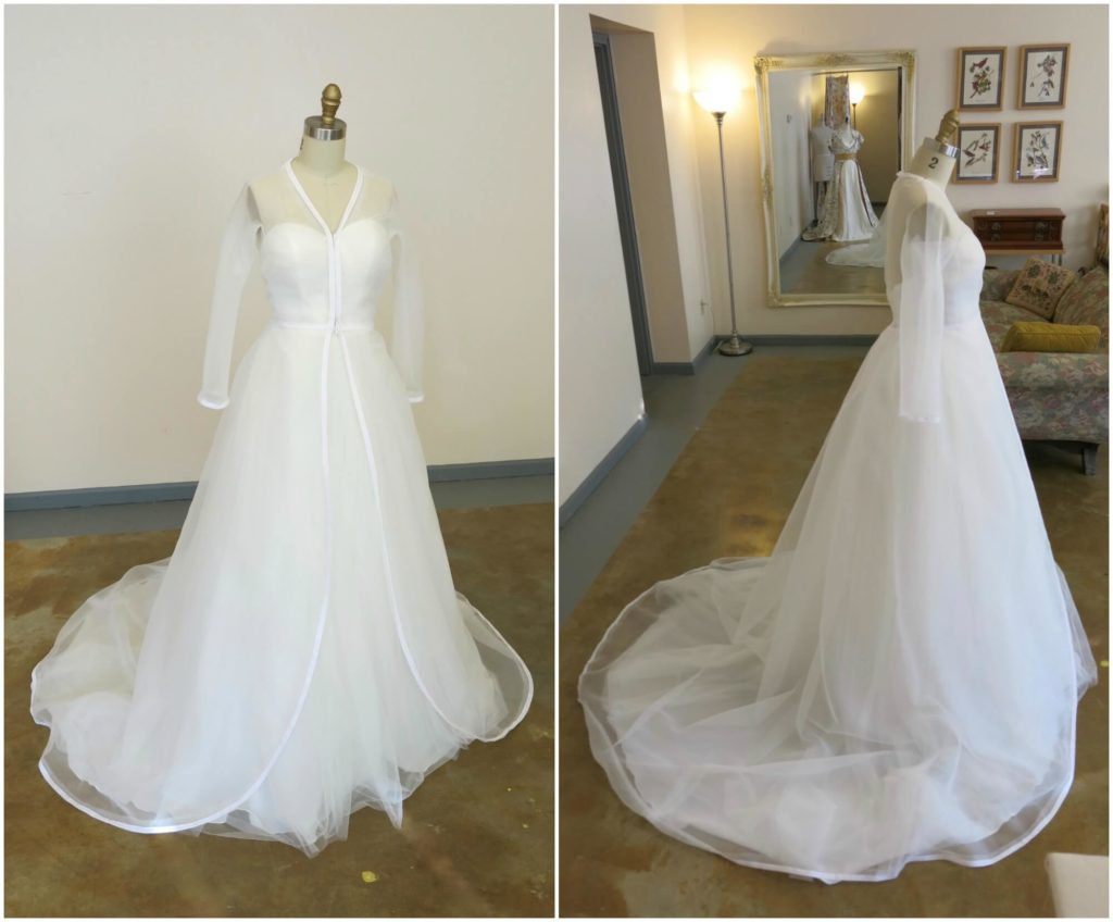 Front and Side view of Cameron Mockup by Brooks Ann Camper Bridal Couture