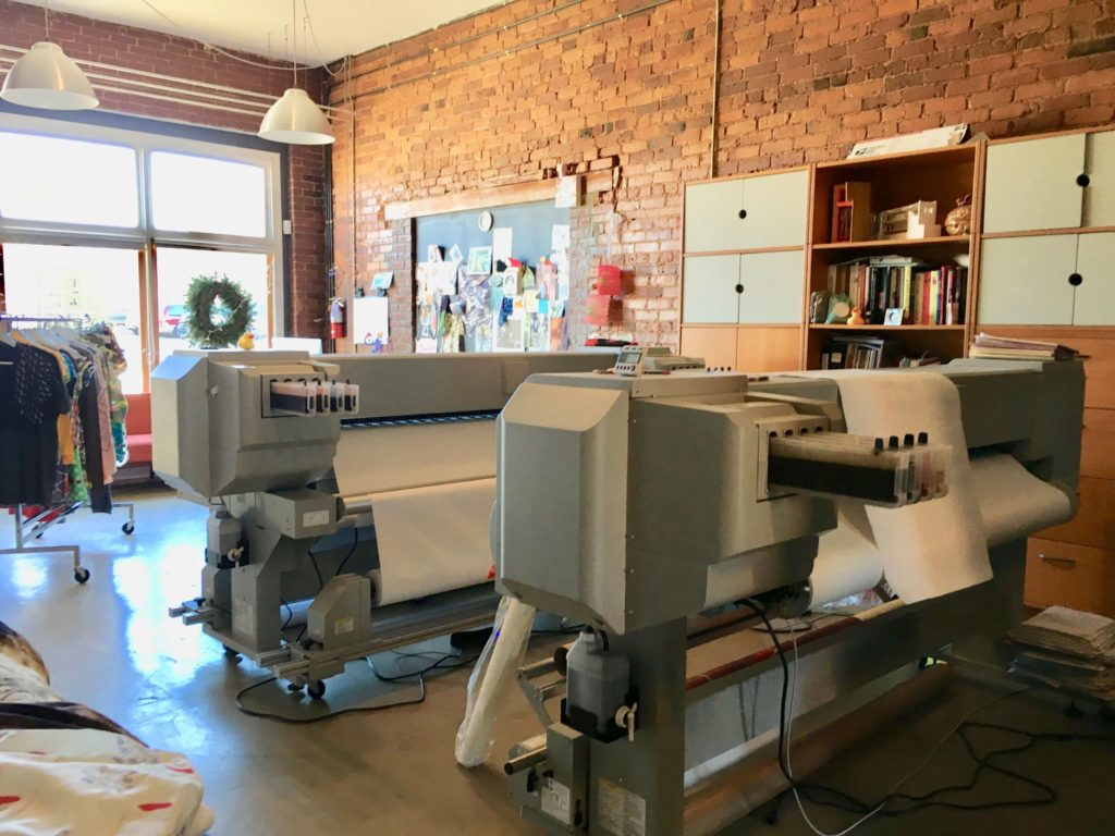 The fabric printers at Red Canary | Brooks Ann Camper Bridal Couture
