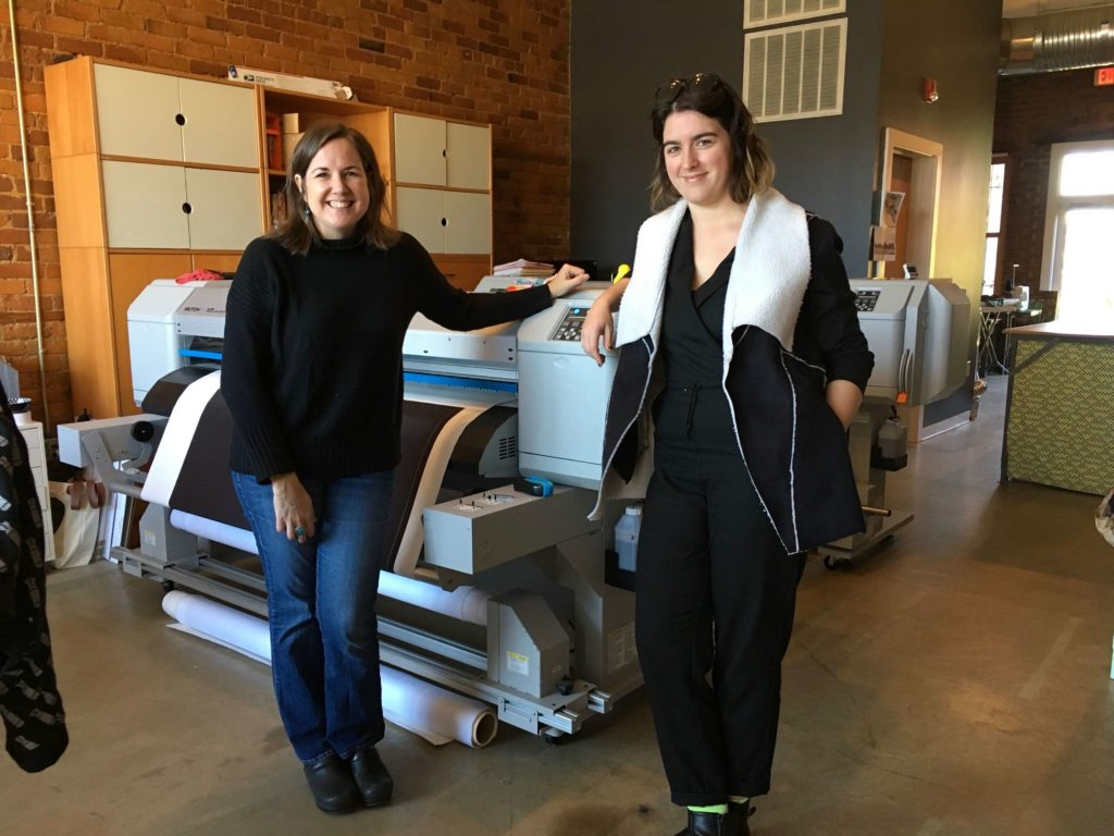 Anne Schroth and Ann Tilley at Red Canary fabric print studio in Greensboro | Brooks Ann Camper Bridal Couture