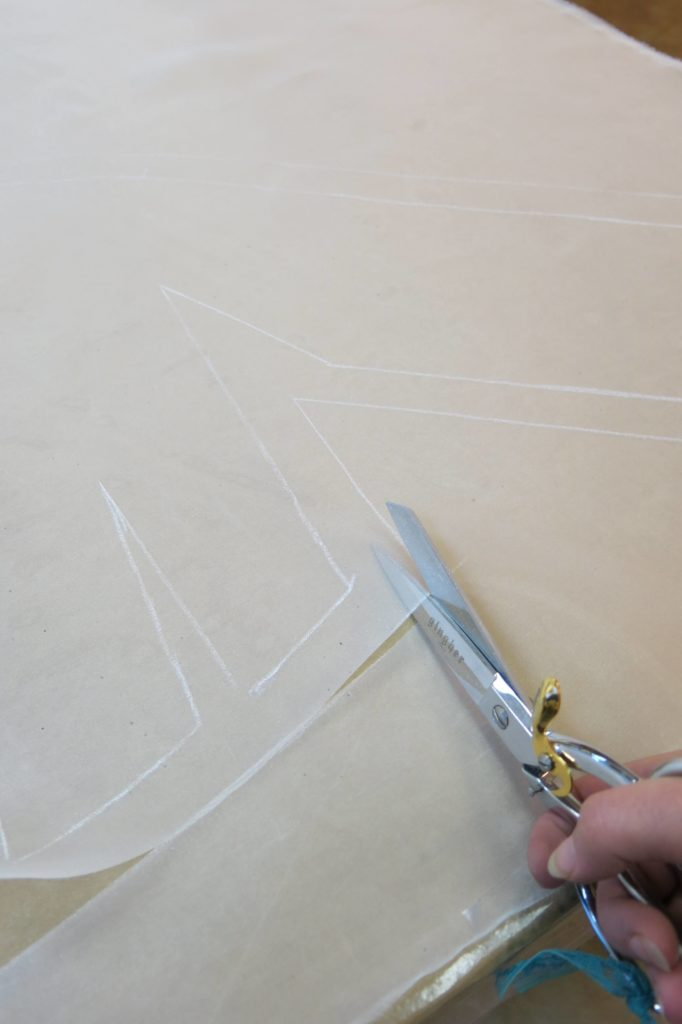 Laying out the pattern to cut Cameron's mockup by Brooks Ann Camper Bridal Couture
