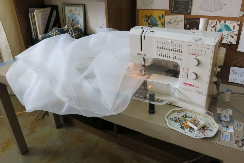 Constructing the skirt for Cameron's mockup by Brooks Ann Camper Bridal Couture