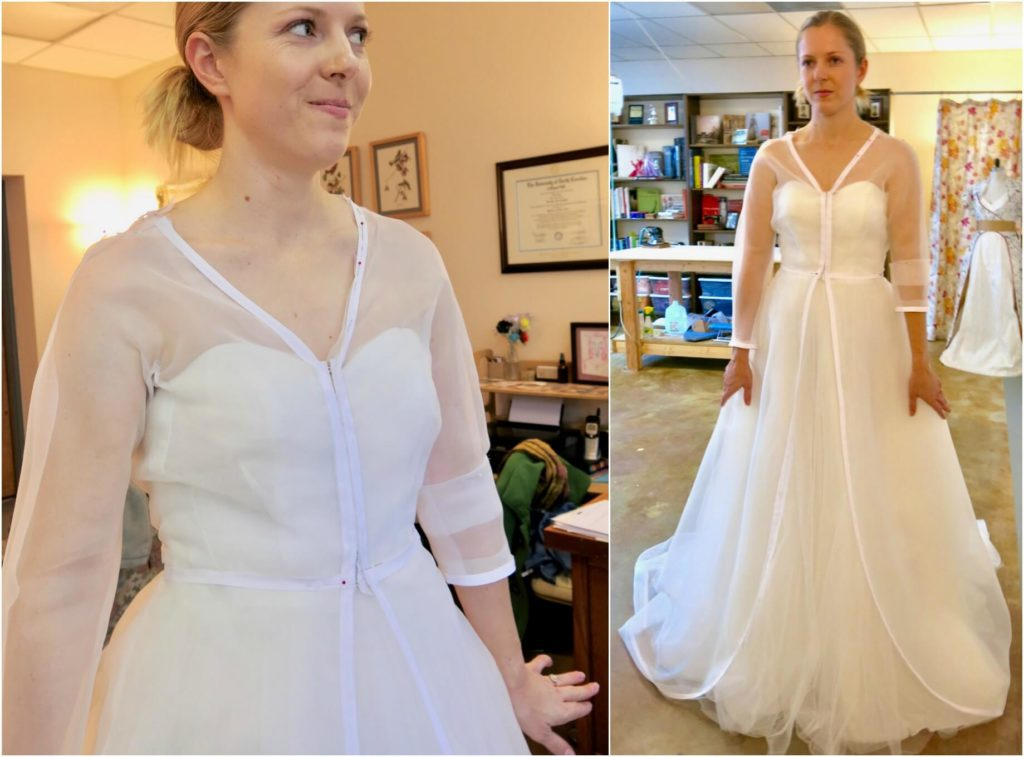 Cameron's first mockup fitting corrections with Brooks Ann Camper Bridal Couture