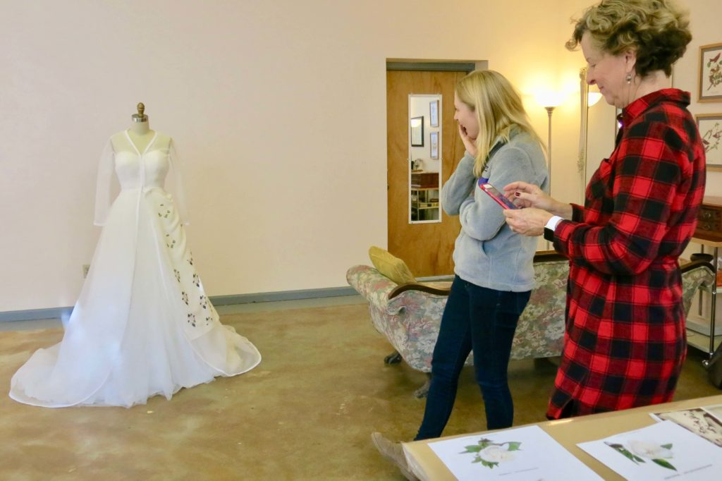 Cameron's first mockup fitting with Brooks Ann Camper Bridal Couture