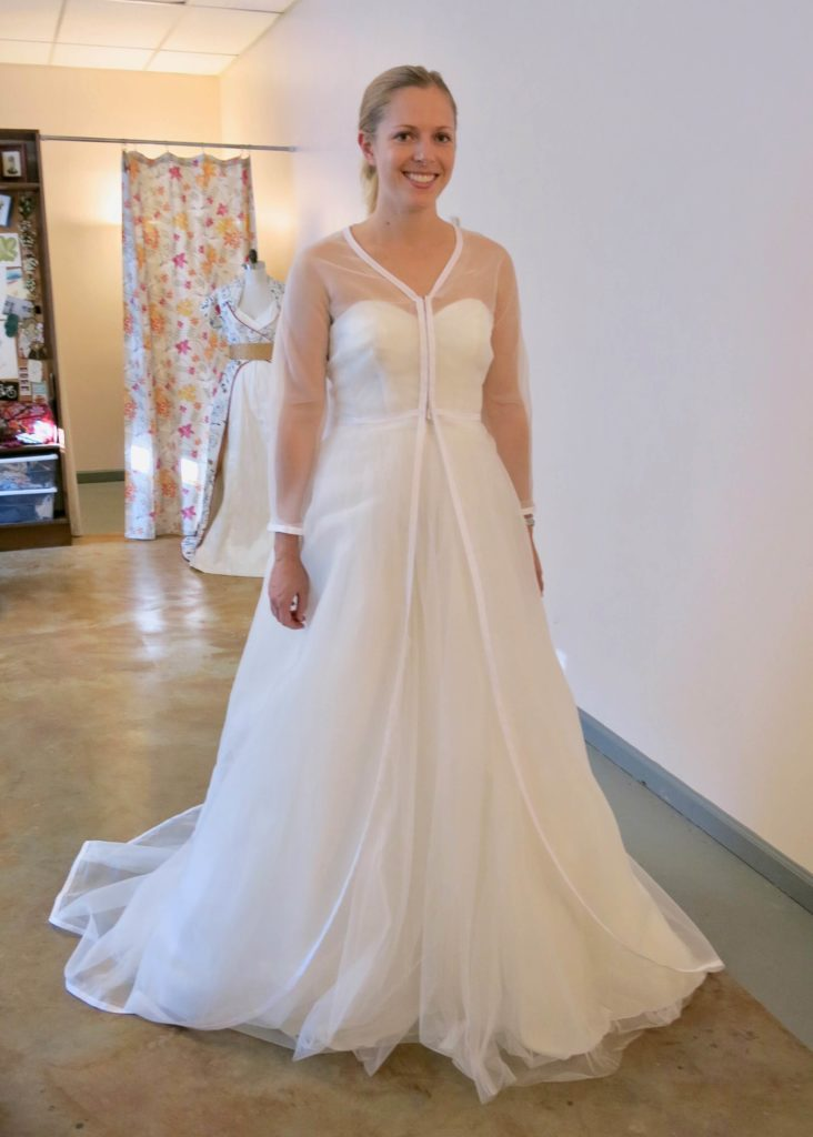 Cameron's first mockup fitting before corrections with Brooks Ann Camper Bridal Couture