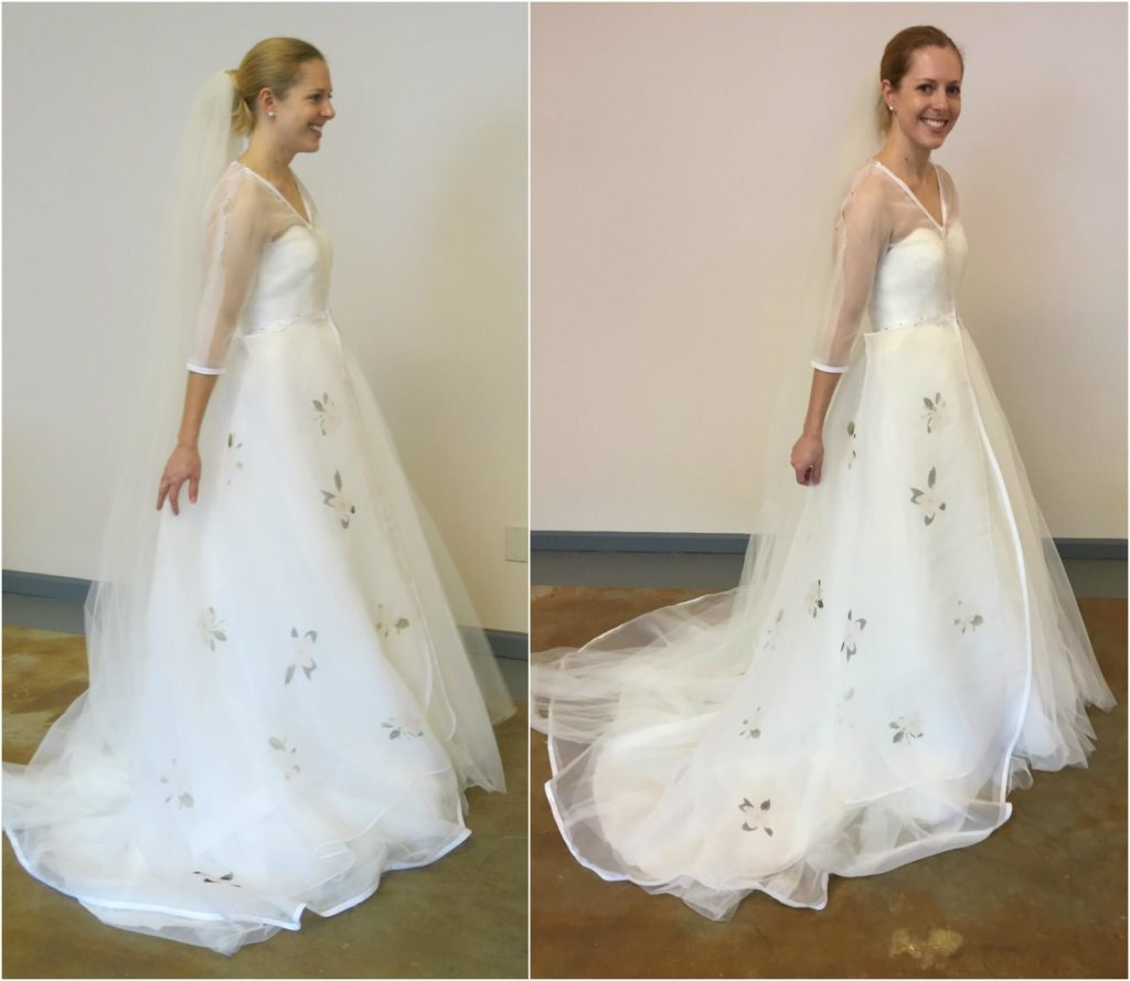 Cameron in her second mockup with the floral fabric sample | Brooks Ann Camper Bridal Couture