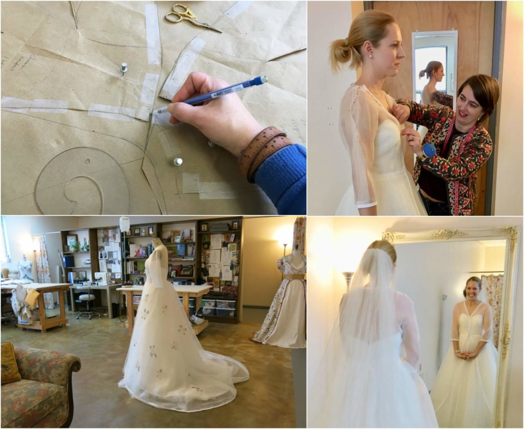 Cameron's Corrections and Second Mockup Fitting Smiles by Brooks Ann Camper Bridal Couture