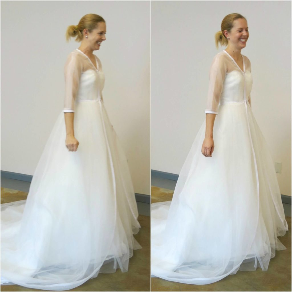 Cameron can't stop smiling in her second mockup by Brooks Ann Camper Bridal Couture