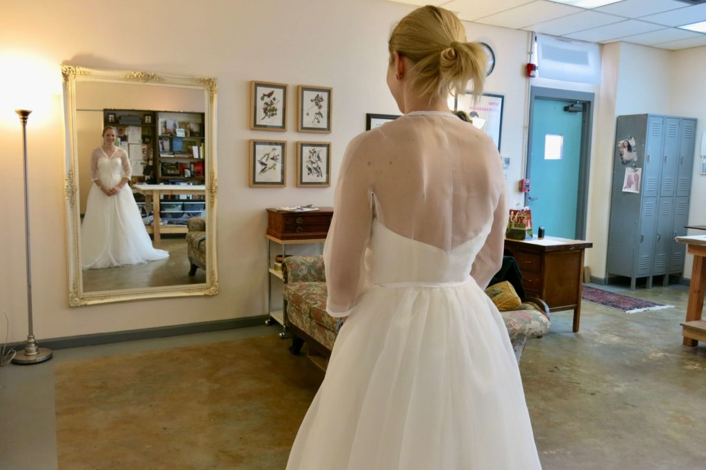 Cameron's second mockup fitting by Brooks Ann Camper Bridal Couture