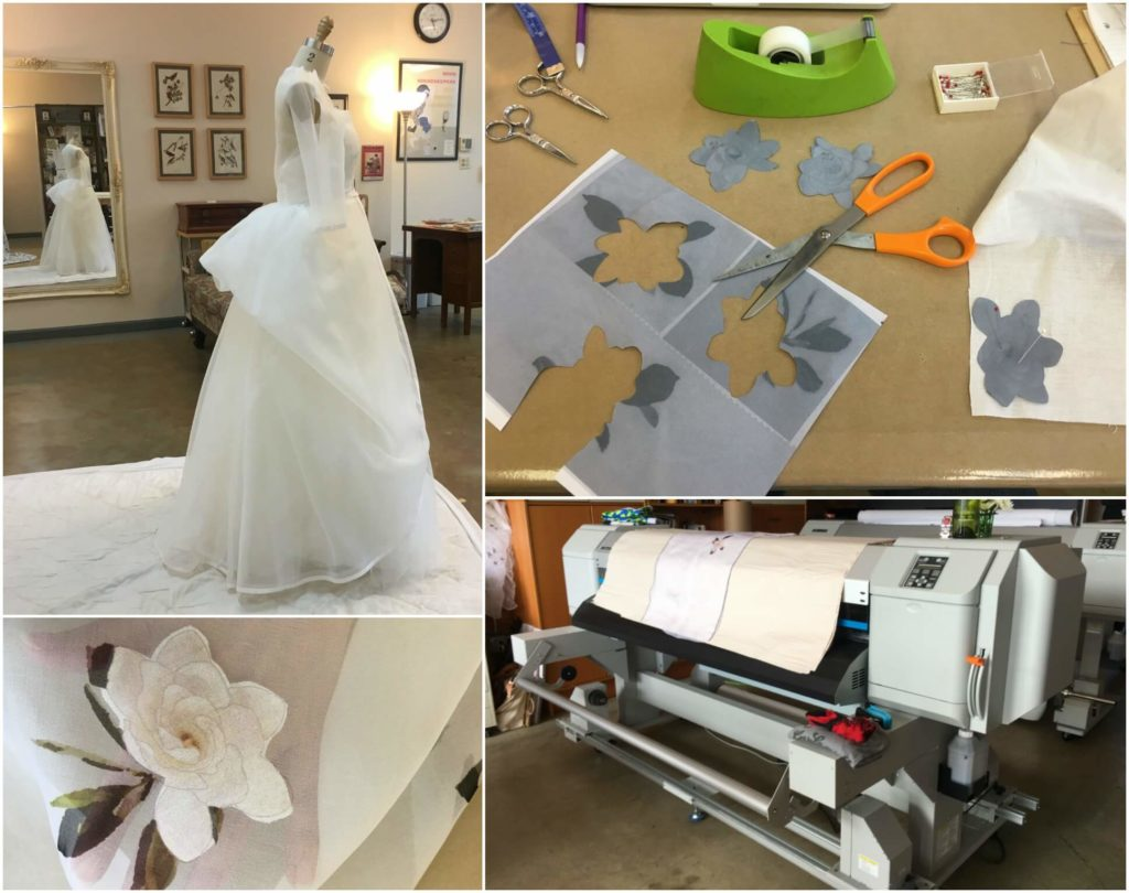 Experimenting with Cameron's fabric and bustle | Brooks Ann Camper Bridal Couture