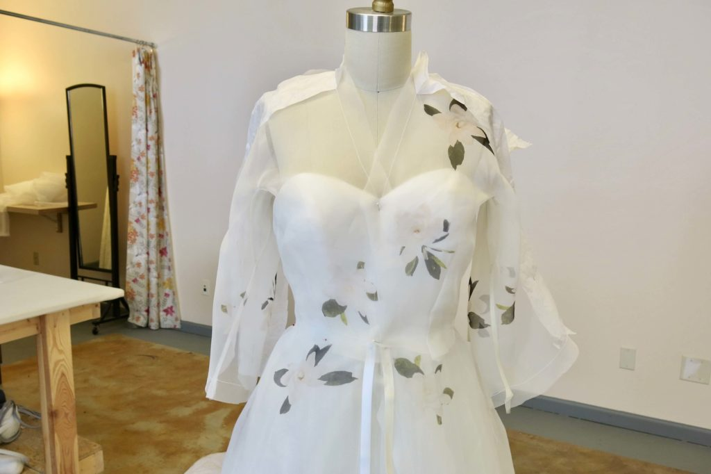 Constructing Cameron's Cut-in-One Silk Sleeves by Brooks Ann Camper Bridal Couture