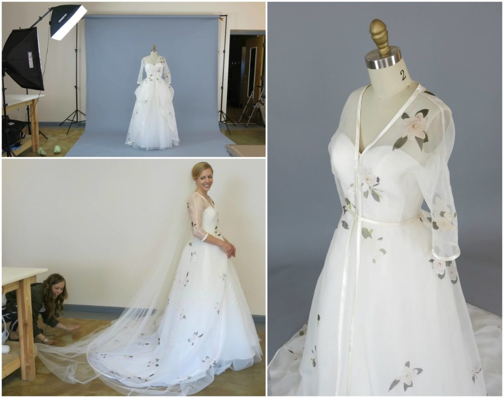 Photo shoot and delivery day for camerons custom wedding dress junglespirit Image collections