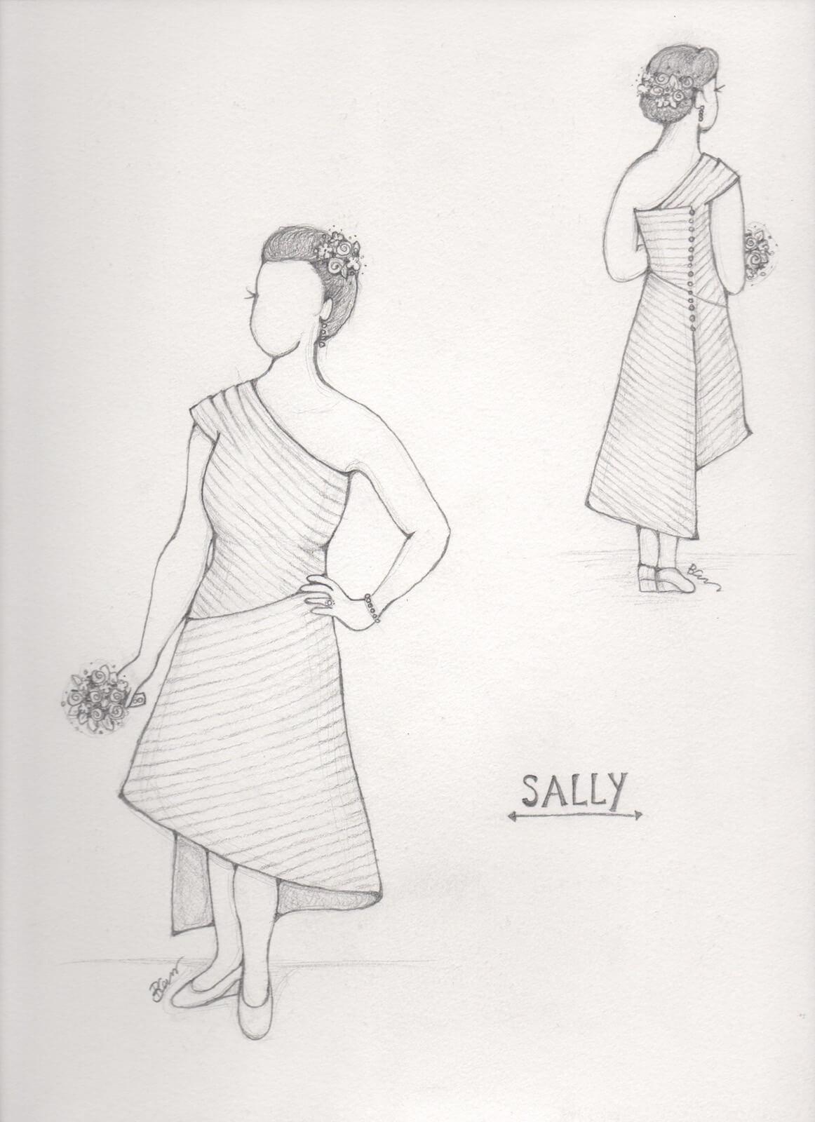 Sally's custom wedding dress sketch by Brooks Ann Camper Bridal Couture