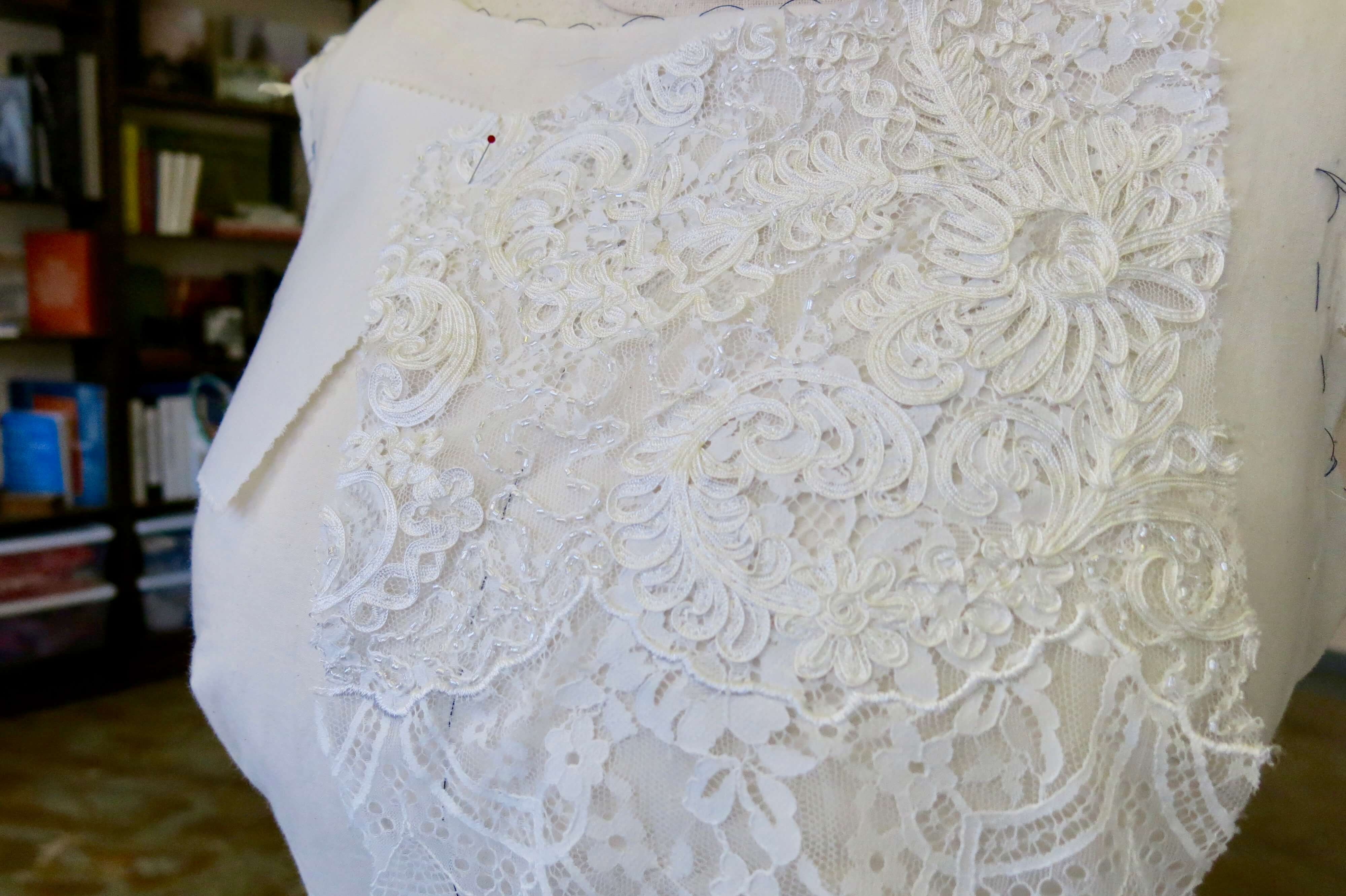 Choosing and Prepping Deborah's Fabrics by Brooks Ann Camper Bridal Couture